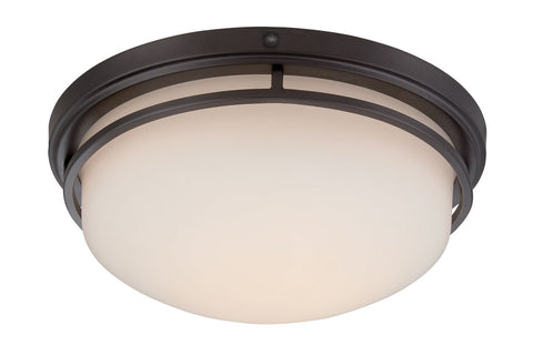 Flush Mount Bronze Finish And Cream Glass #140812-015