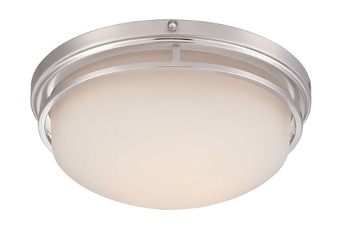 Flush Mount Satin Platinum Finish And Frosted Glass #140812-015