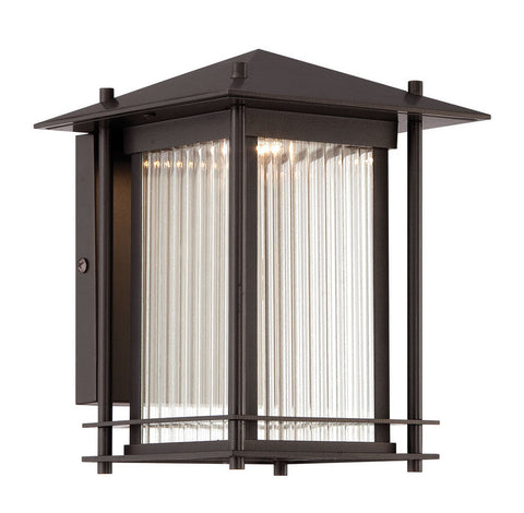 Outdoor Wall Light Bronze Finish  and Clear Ribbed Glass #170912-015