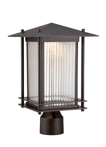 Outdoor Post  Bronze Finish And Clear Ribbed Glass #190812-015