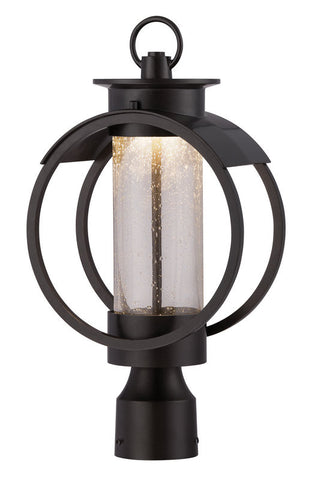 Outdoor Post Light Bronze Finish and Seed Glass #190912-015