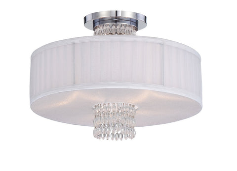 Semi Flush Mount Chrome Finish And White Linen Shade with Crystal Accents #150812-015