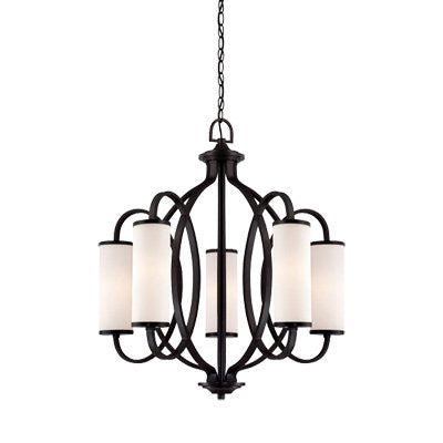 Chandelier Black Finish And Opal Glass #010812-015
