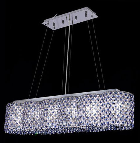 Chandelier Chrome Finish and clear and Blue Crystal #01082238-16