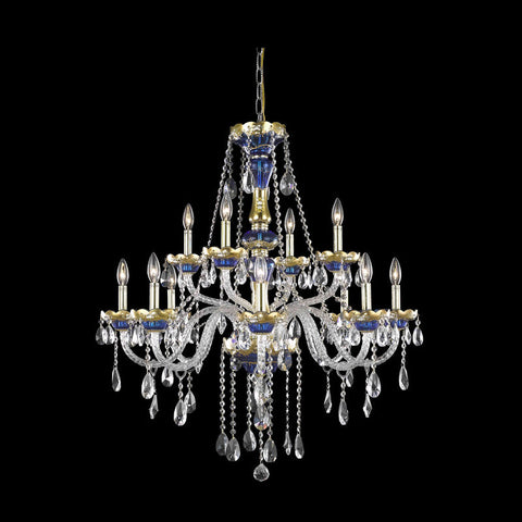 Chandelier Blue and Gold with Clear Crystal 01081185-016
