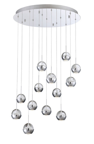 Chandelier Chrome Finish with Ice Crystal Pendants Led  #010815-014 FP