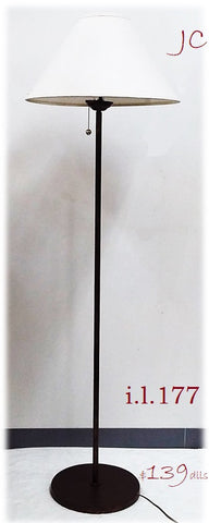 Floor Lamp Bronze Finish With Off White Linen Shade 06-118-JSH-177