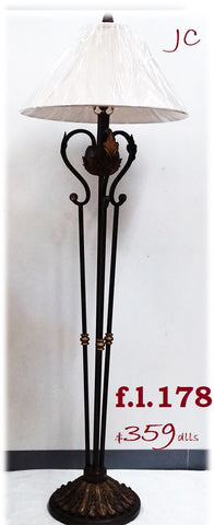 Floor Lamp Brown Iron  and Antique Gold Accent 06-118-JSH-178