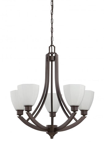 Chandelier Bronze Finish With Opal Glass #010803-014