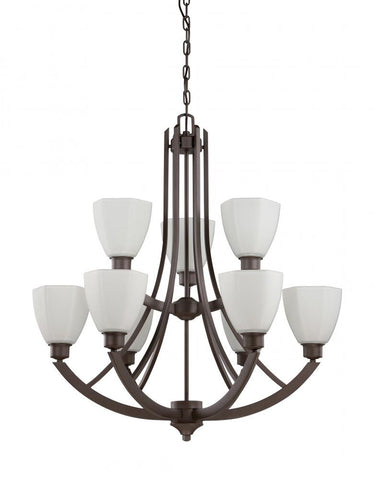 Chandelier Bronze Finish With Opal Glass Shades #010803-014