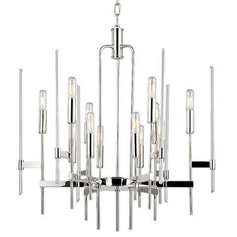 Chandelier Polished Nickel And Glass Rods #010832-02