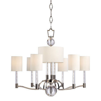 Chandelier Polished nickel  And Crystal Accents With Linen Shades #010832-34