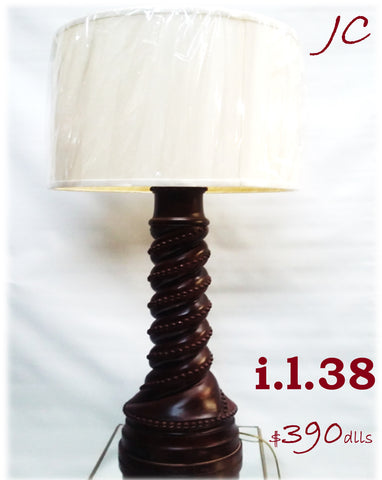Table Lamp Mahogany Wood Base And Linen Drum Shade 07-118-JSH-38