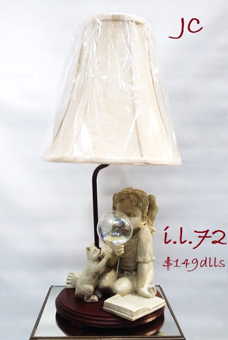 Table Lamp Girl And Bubble Base With Silk Shade 07-118-JSH-72