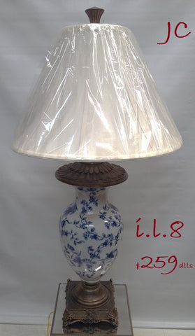 Table Lamp Antique Gold With Ceramic Base Silk Shade 07-118-JSH-118