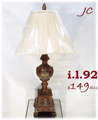 Table Lamp Bronze And Green Finish With Silk Shade 07-118-JSH-92