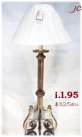 Table Lamp Light Brown Finish Base And Cream Shade 07-118-JSH-95