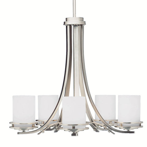 Chandelier Brushed NickelFinish and Satin Opal Glass #010831-142