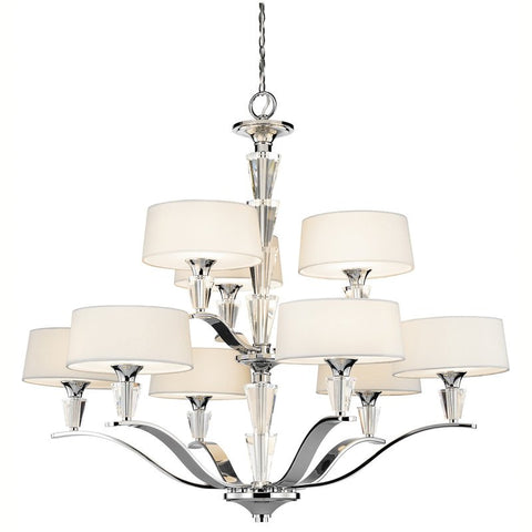 Chandelier Polished Chrome Finish And White Linen Shades And Crystal Accents #010831-39