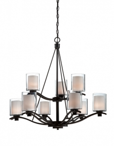 Chandelier Bronze Finish With  Nine Lights  #01807-149