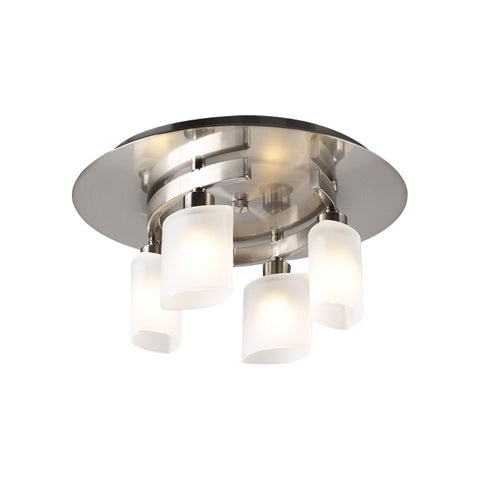 Flush Mount Light Satin Nickel And Frosted Glass #140839-14
