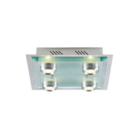 Flush Mount Light Aluminum Finish With Acid Frosted Glass #140839-14