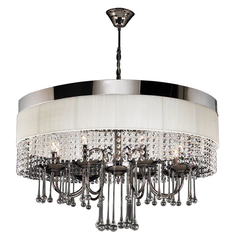 Pendant Chrome Finish And White Shade With Crystal Accents #010839-015