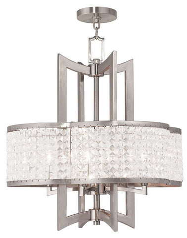 Chandelier Brushed nickel finish and clear crystals 370105-16