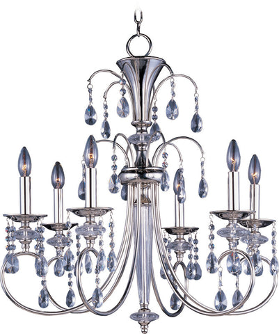 Chandelier Polished Nickel Finish And Crystal Drops #010836-014