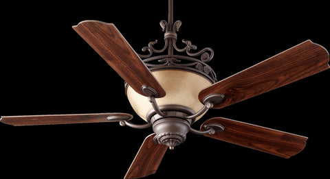 Indoor Ceiling Fan Bronze Finish And Cream Glass #040855-014