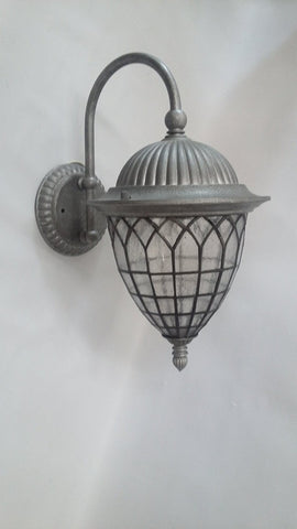 Outdoor Wall Light Antique Silver And Seedy Glass 17118-JSH-6112