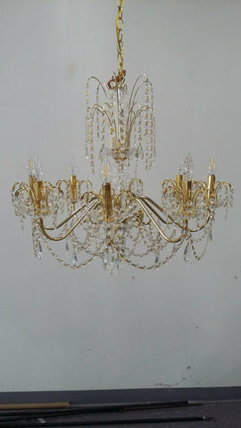 Chandelier Gold Finish And Hand Cut Crystal 1218-JSH-JM-08