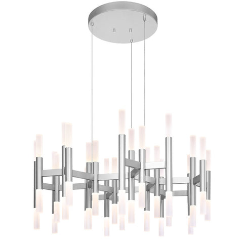 Chandelier Silver Finish And Frosted Glass #010850-015