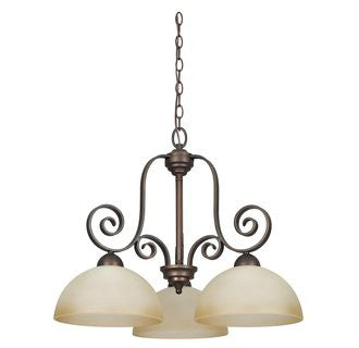 Chandelier Bronze Finish And Buttercup Glass #010803-45