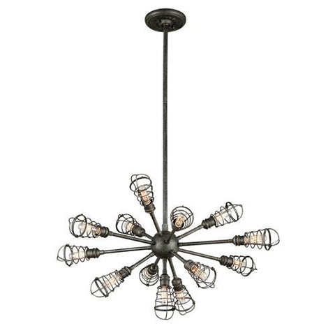 Chandelier Old Silver Iron Finish and  Wire Cage 014803-16