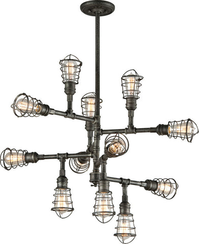 Chandelier Old Silver Finish and wire cage 014803-16