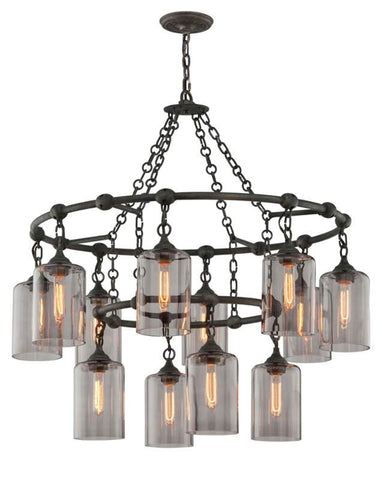 Chandelier  Silver Bronze Finish  With Smoke Glass Shades 014803-16