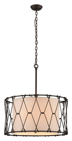 Chandelier Vintage Bronze Finish and Linen Shade 014803-16