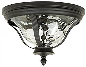 Outdoor Flush Mount Bronze Finish and Clear Hammered Glass 16-1-618-597-CR