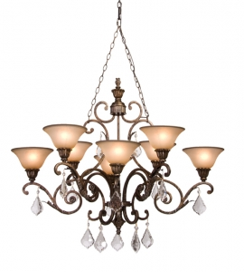 Chandelier  Bronze Finish and Hand Painted Carmelized Glass Shades with Crystal #010807-83