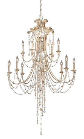 Chandelier Silver Leaf Finish  Seashell And Beadsl #010846-07