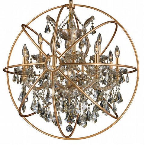 Chandelier Antique brass cage with golden Crystal 01118-62-