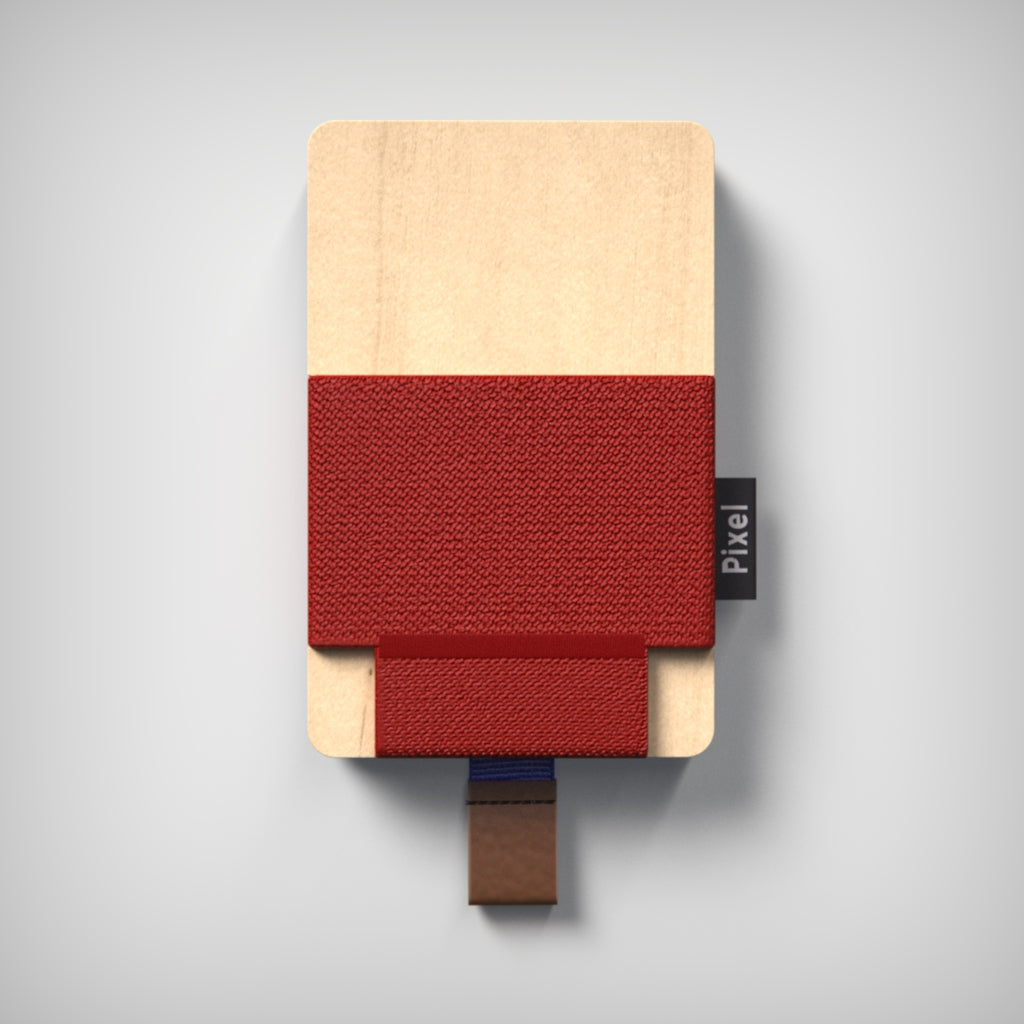 Pixel Wallet | Maple Red | Elastic Blue Strip | Cognac Leather Tab |