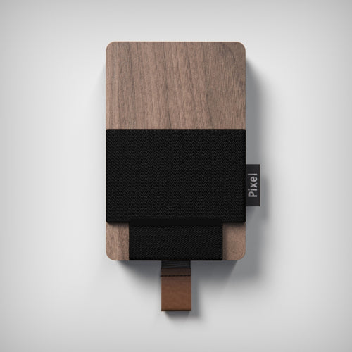 Pixel Wallet | Cardholder Wallet | Walnut Black | Canada Made | Black strap