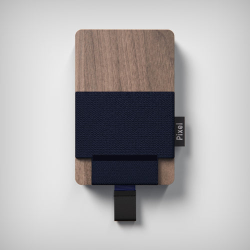 Pixel Wallet | Walnut Navy | Blue Elastic Blue Strip | Black Leather Tab |