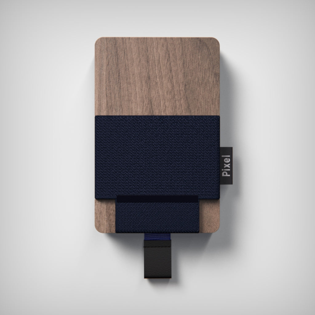 Pixel Wallet Walnut Navy Blue Elastic Blue Strip Black Leather Tab