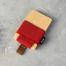 Load image into Gallery viewer, Pixel Wallet | Maple Red | Elastic Blue Strip | Cognac Leather Tab |