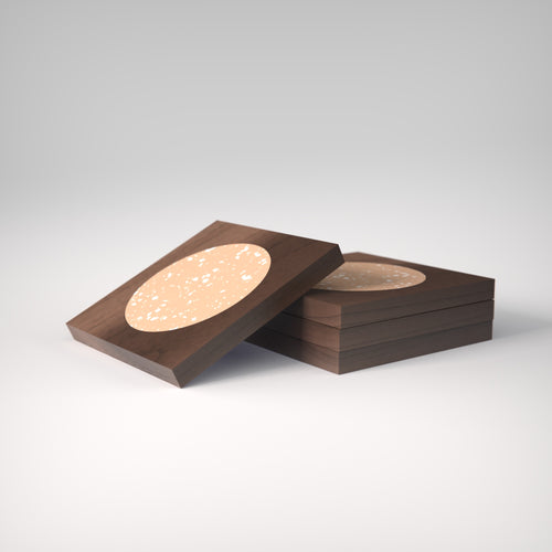 Terrazzo | Rich Walnut Wood | Neroli Coasters | Set of 4