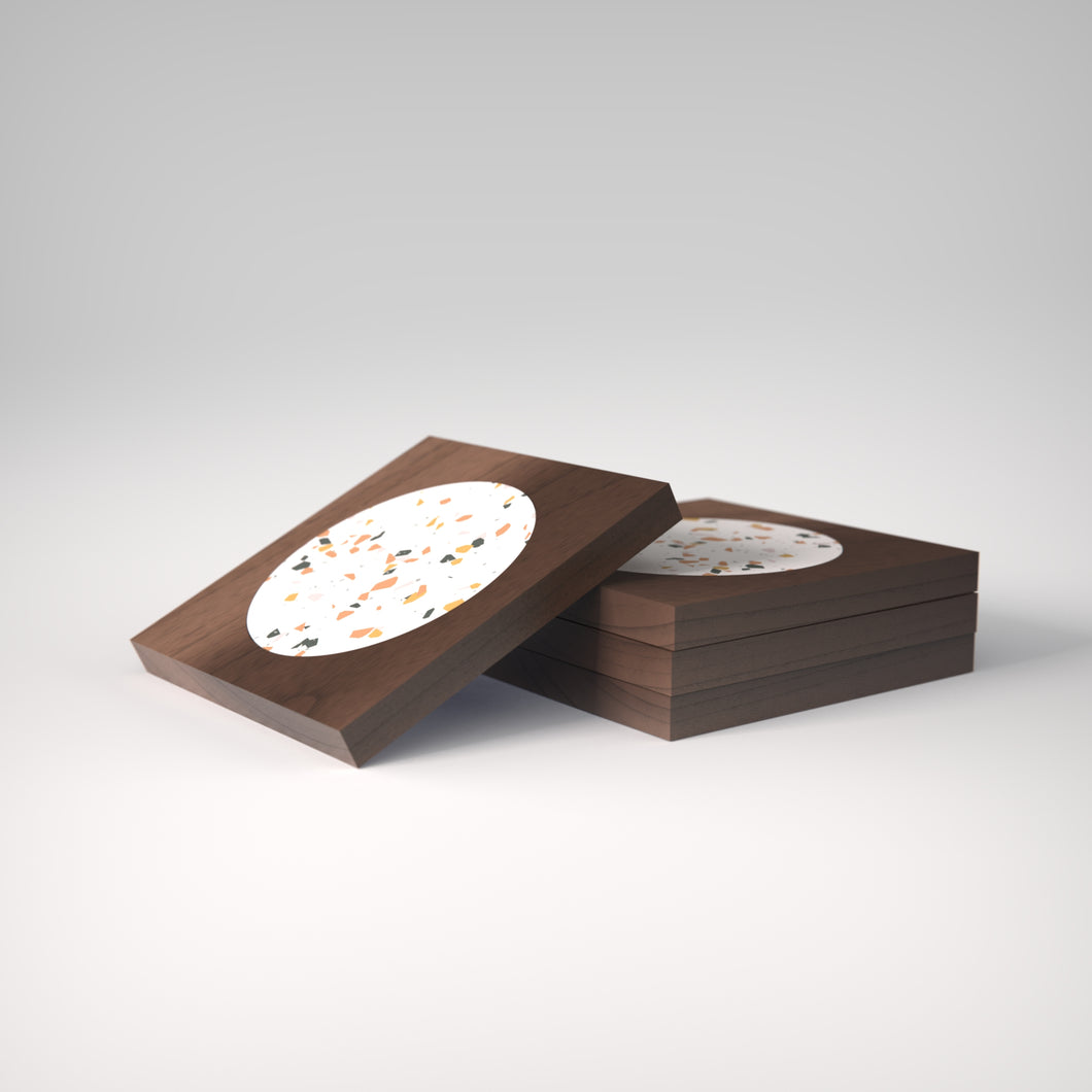 Terrazzo | Rich Walnut Wood | Sinfonia Coasters | Set of 4