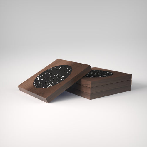 Terrazzo | Rich Walnut Wood | Stellato Coasters | Set of 4